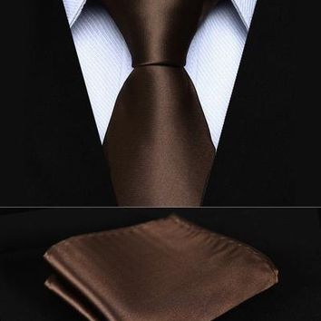 "TL201Z8S Brown Solid 3.4"" Silk Woven Men Tie Necktie Handkerchief Set Party Wedding Classic Pocket Square Tie"