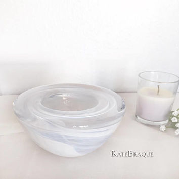 Kosta Boda Art Glass Swedish Bowl Atoll White Swirl Design