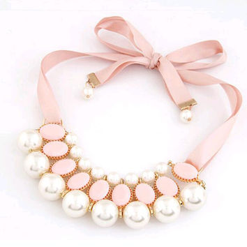 New Design Popular Vintage Style Candy Color Ribbon simulated pearl Chocker Pendants Chain Statement Necklaces For Women Jewelry