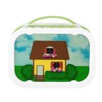 Cute Yellow House and Colorful Flowers Lunchbox