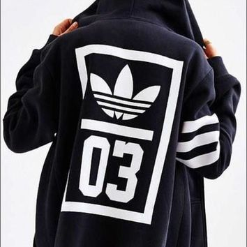 adidas Originals Navy Trefoil Zip-Up Hooded Sweatshirt