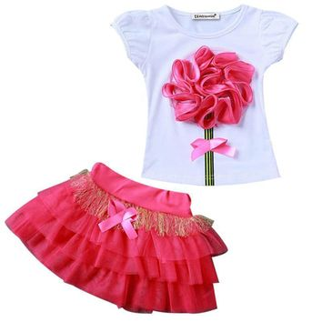 Big Rose Flower Shirt+Tutu Skirt Kids Clothing Sets
