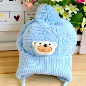 1PCS Baby hat Boy Girl Cute Soft Crochet Bear Hat Beanies knitting Warm Newborn Cap