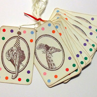 Vintage Circus Tags -  Elephant & Giraffe - Birthday Party Animals