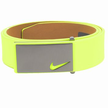 Licensed Golf New Nike Mens Sleek Modern Plaque Leather  Belt - Pick Color & Size