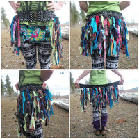 Upcycled Fabric Scrap Flow Fairy Festival Gypsy Belted Skirt