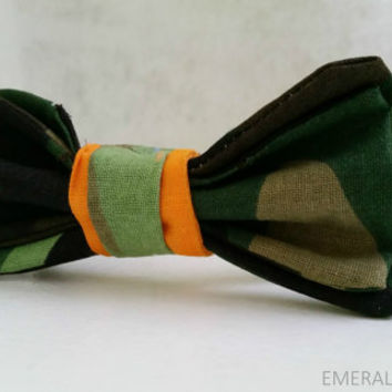 Camo Bow Tie for Baby/Toddler/Boys Camoflauge with Orange Accent Necktie