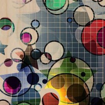 Abstract Colorful Circle & Stars w/ Graph Lines - Plywood Wood Print Poster Wall Art