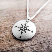 Compass necklace silver handmade Compass rose by lulubugjewelry