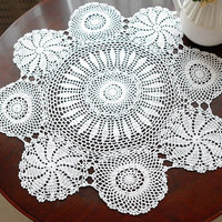 Vintage look crocheted  table cloths  28 In. Round