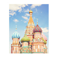Moscow, Russia, St. Basil's Cathedral 8x10 Art Photo Print - Home Decor, Russian, Onion Domes, Spiral, Colorful, Pastel, Exotic, Travel, Sky