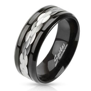 Multi Shaved Steel Center Black IP Band Ring Stainless Steel