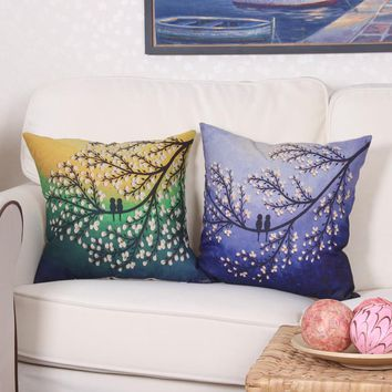Fashion beatiful 3d oil painting euro pillow cover tree funda cojin cojines decorativos cotton linen sofa cushion cover