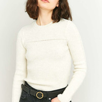 BDG Pretty Pointelle Beige Knit Jumper - Urban Outfitters