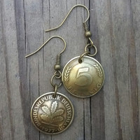Coin earrings. 1977. German antique coin. 5 pfennig coins. Doomed dangle earrings.