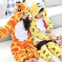 Unisex Children Clothing Spongebob & Giraffe Animal Pajamas sleepwear Jumpsuit kids clothes baby rompers Flannel Onesuit Costumes