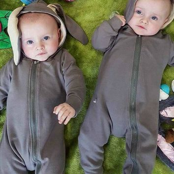 Newborn Infant Baby Clothes Cute 3D Bunny Ear Hooded Romper Jumpsuit Playsuit Autumn Winter Warm Baby Rompers