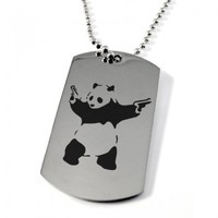 Banksy Panda with Pistols Dog Tag - Stainless Steel Personalised/Engraved