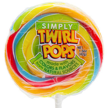 Natural Twirl Pops 1.5-Ounce Swirl Suckers - Rainbow: 24-Piece Display