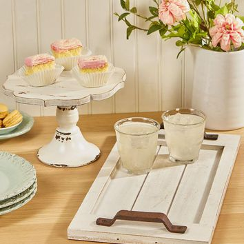 Cake Stand or Serving Tray Vintage Country Cottage Shabby Chic Wood & Metal