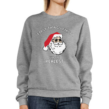 Realest Santa Sweatshirt Funny Christmas Pullover Fleece Sweater