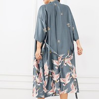 Plus Crane Print Self Belted Robe