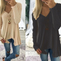 Solid Color Sexy V-Neck Irregular Long-Sleeved Sweater