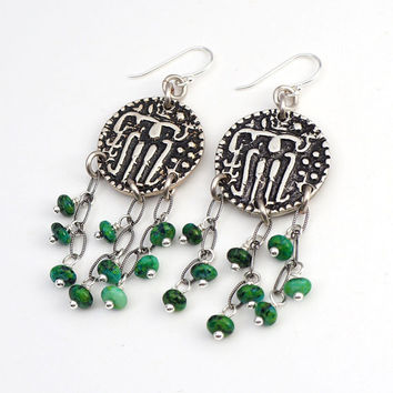 Blue green cluster coin earrings, silver Ceylon Massa coins, chrysocolla beads, sterling French hooks and chain