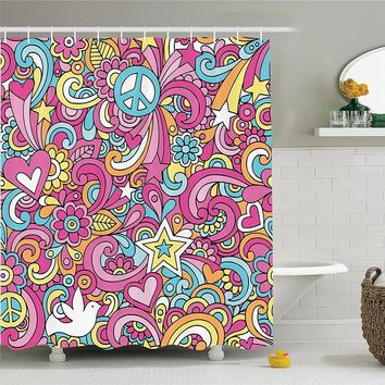 Groovy Decorations Shower Curtain Set Psychedelic Complex Funky Decorative Patterns Stars Back to 60s Fun Retro Artsy Print Bath
