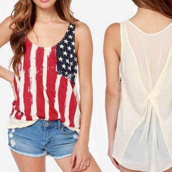 New summer sexy Women flag pattern vest Chiffon knitting sleeveless T-shirt -0626