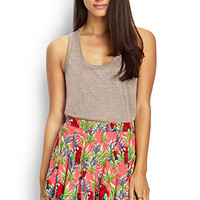 LOVE 21 Parrot Printed Woven Shorts Coral/Green Large