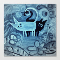 cats in blue  Stretched Canvas by Marianna Tankelevich