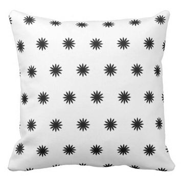 "Cotton Throw Pillow, Whie/black 20"" x 20"" Throw Pillow"