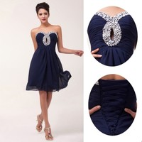 Stock!Short Bridesmaid Chiffon Ball Cocktail Evening Prom Homecoming Party Dress