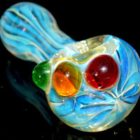 The Stoplight Special - Micro Mini Spoon Pipe with Heavy Fuming & Traffic Light Red Yellow Green Marbles - Cute Color Changing Glass Bowl