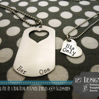 Her One His Only Deployed Military Dog Tag Couples Necklaces Hand Stamped Silver Stainless Steel