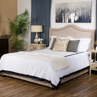 James Beige Upholstered Studded Fabric Queen Size Bed Set