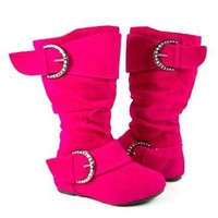 Toddler Girls Ositos Destiny-I Fuchsia Faux Suede Zip Boots