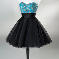 Black A-line Sweetheart Short Mini homecoming dress, prom dress, cocktail dress, dress for homecoming 2013