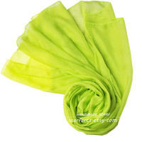 "Fluorescent Yellow Green Scarf Shawl Silk Scarf Spring Summer Scarf Bright Color 100% silk- 79""x26"""