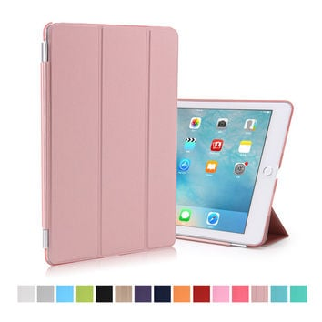 for ipad pro 9.7 case pu leather magnetic smart wake up sleep with pc matte transparent back cover for ipad new mini pro