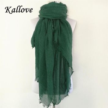 New women Scarf shemagh High Quality Shawls And Scarves Linen Cotton Scarf Warm Solid Color Scarf Free Shipping crinkle hijab