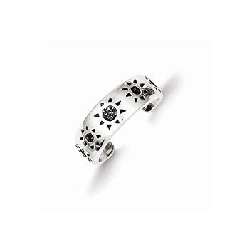 Sterling Silver Antiqued Sun Toe Ring, Best Quality Free Gift Box Satisfaction Guaranteed
