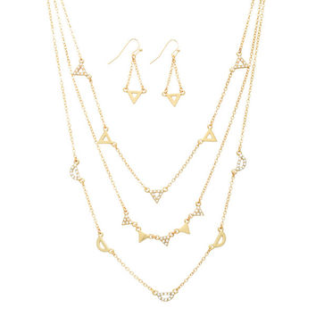 Gold tone layering necklace set with rhinestone triangles and semi-circles.