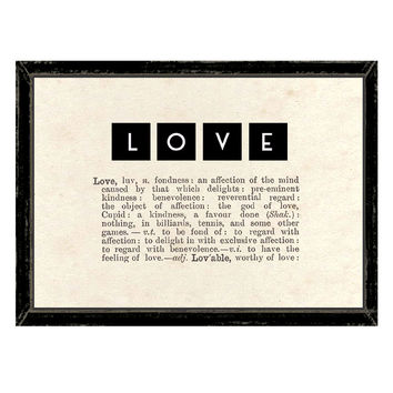East Of India Vintage Style Love Artwork With Dictionary Definition and Letter Blocks