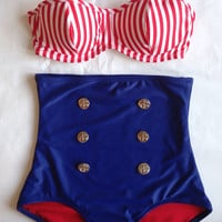 Hello Sailor! Nautical High Waist Pin Up  Bikini with Underwire Top
