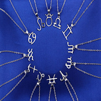 Hot Sale Silver Plated metal Unisex Zodiac Constellation Charming Chain Necklace Pendant Jewelry