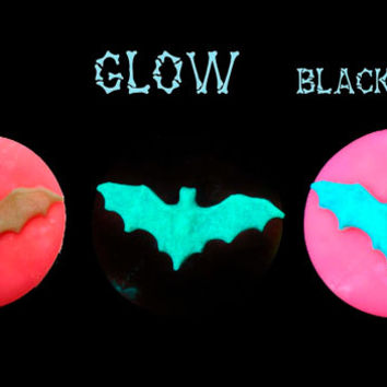 Glow in the Dark Bat Pendant in Fluorescent Pink and Ivory Handmade Blacklight Jewelry No373