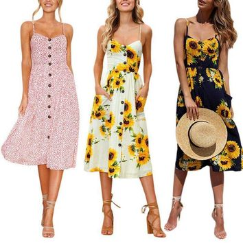 Summer Lady Women Boho Floral Dress Beach Sundress Cocktail Party Dress Clubwear