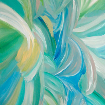 Large Abstract Painting 36x48 Contemporary Art Turquoise Green Huge Artwork Floral Blue